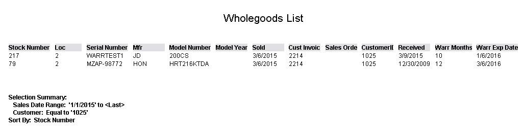 Wholegoods List Report